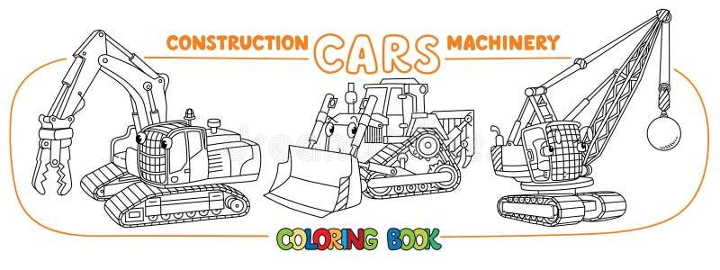 Esmagando carros do equipamento com olhos Livro de coloração ilustração royalty free