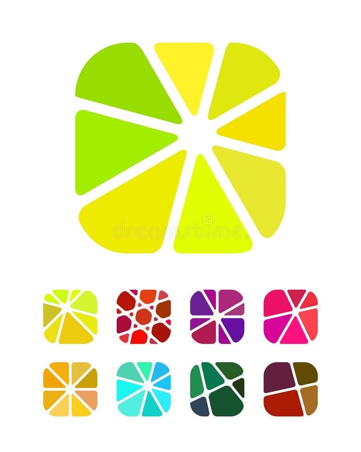 Esmagando logotipos redondos abstratos do projeto do retângulo ilustração stock
