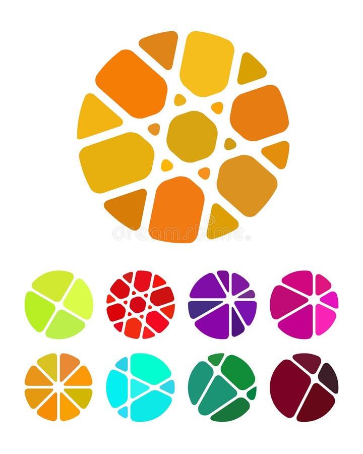 Esmagando logotipos redondos abstratos do retângulo ilustração do vetor