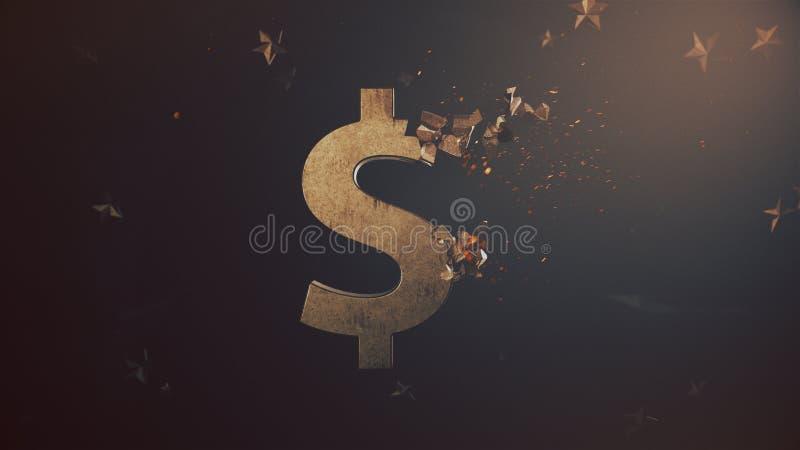 Esmagando o símbolo de moeda velho do dólar ilustração royalty free