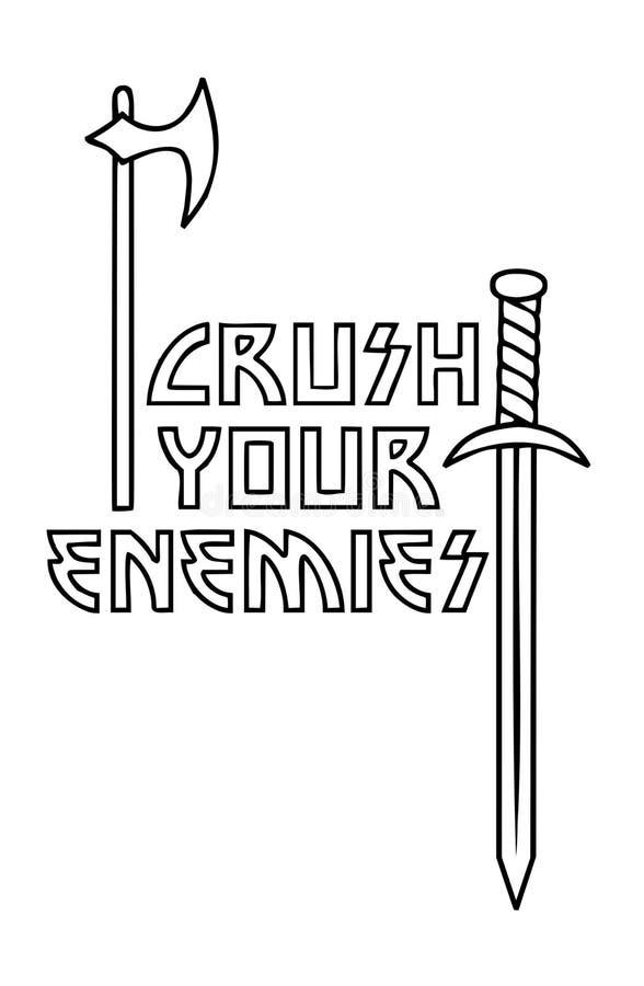 Esmague seus inimigos - ilustração do vetor do texto de Viking Axe & da espada ilustração do vetor