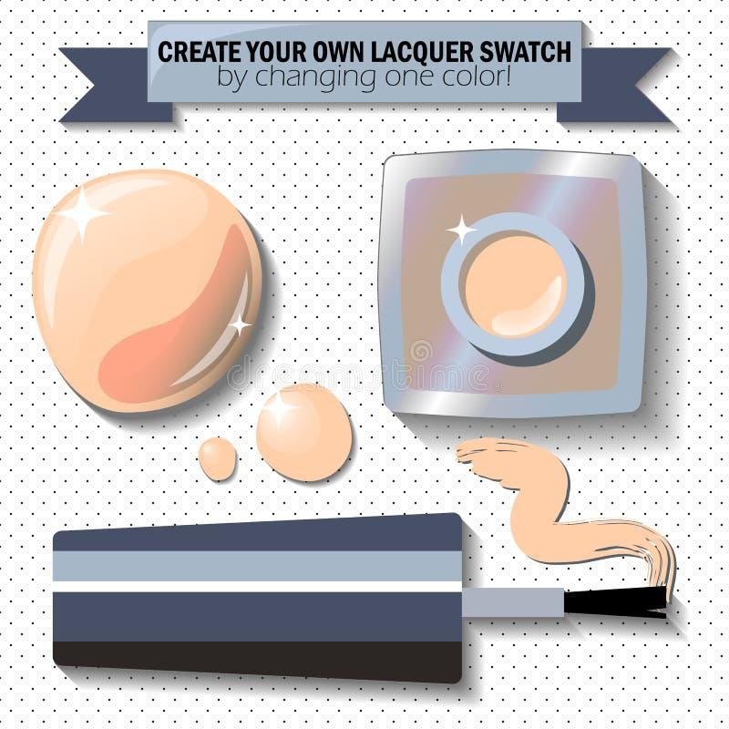 Esmalte de clavo beige desnudo en estilo realista Clave el fondo del lunar de la endecha del plano del paquete de la laca libre illustration