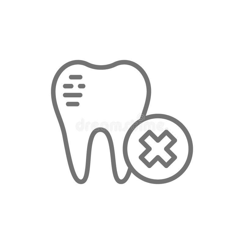 Esmalte de dente danificado, linha quebrada dental ícone ilustração royalty free