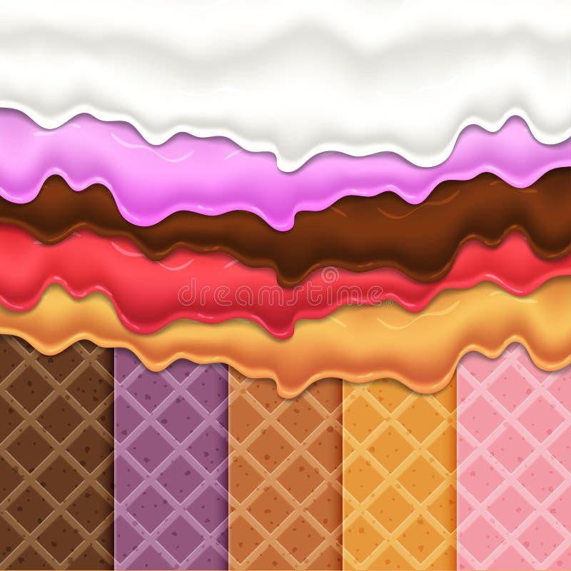 Esmalte de fluxo no alimento do doce da textura da bolacha ilustração royalty free