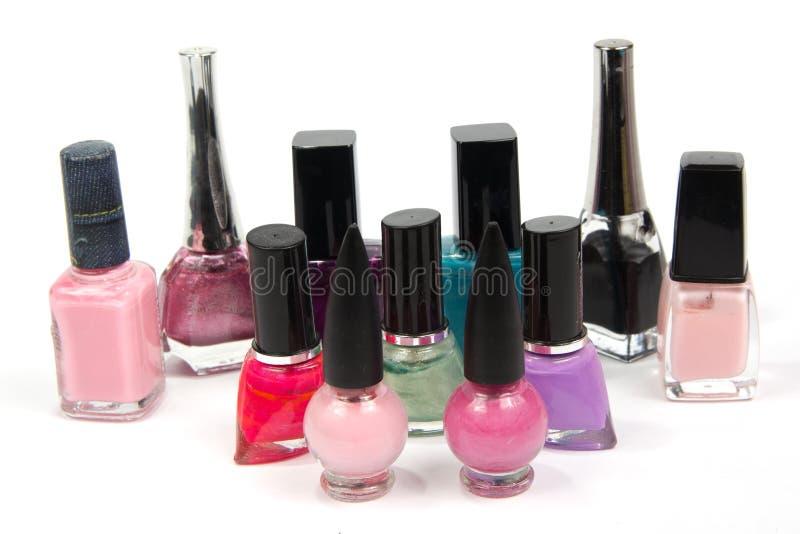 Esmalte de uñas coloreado fotos de archivo