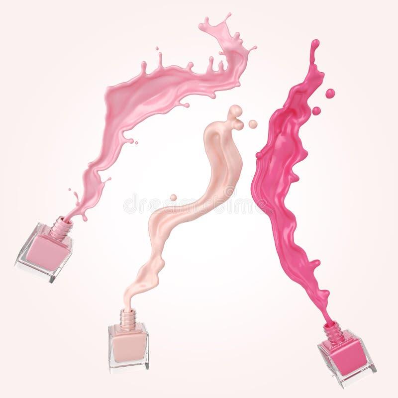 Esmalte de uñas colorido o chapoteo colorido de la pintura de la laca en el fondo blanco libre illustration