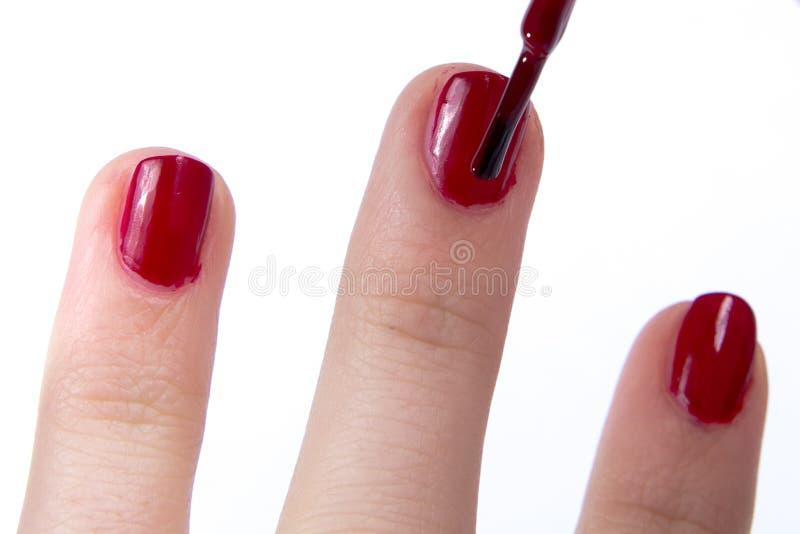 Esmalte de uñas rojo aficionado foto de archivo