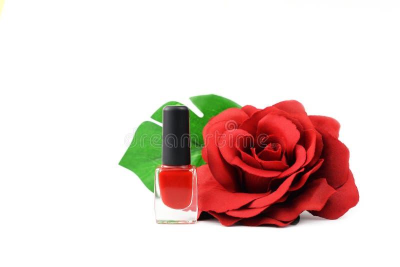 Esmalte de uñas rojo con la flor color de rosa roja imagen de archivo libre de regalías