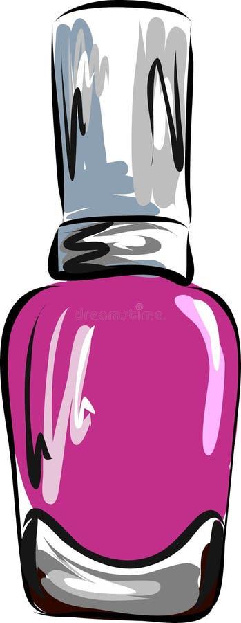 Esmalte de uñas rosado, manicura, pedicura, gel-barniz, ejemplo del vector stock de ilustración