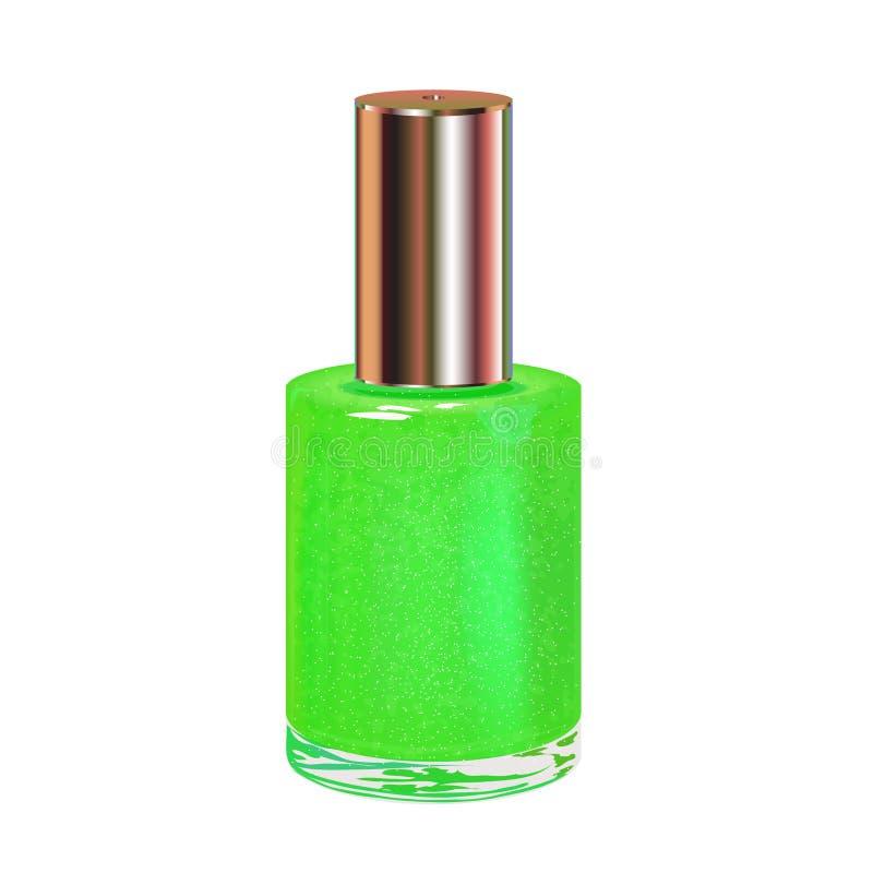 Esmalte De Uñas Verde Con El Casquillo De Plata. Ilustración del ...