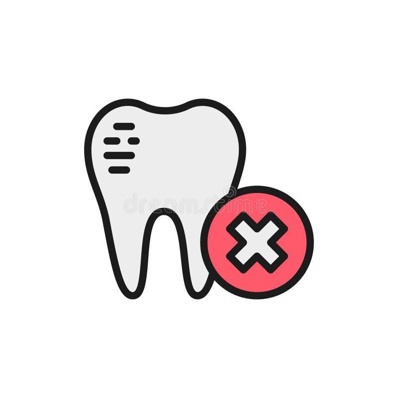 Esmalte dental dañado, icono de línea plana rota dental stock de ilustración