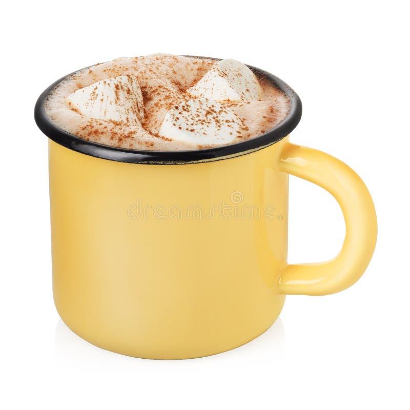 Esmalte la taza con cacao caliente imagen de archivo