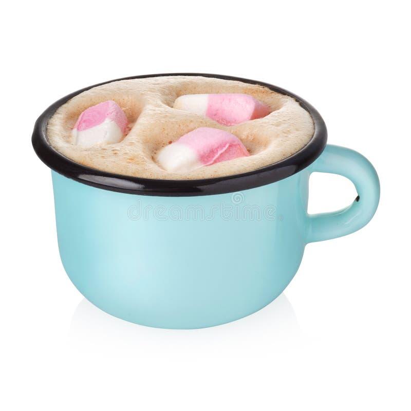 Esmalte la taza con cacao caliente imagenes de archivo