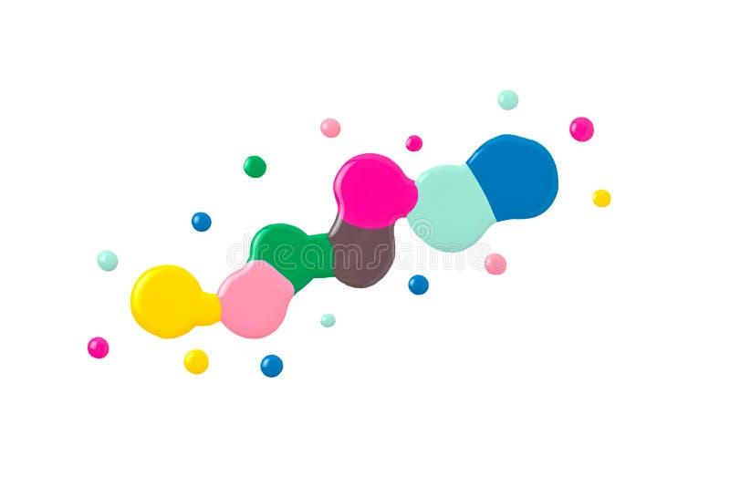 Esmaltes de uñas coloridos estropeados aislados en blanco stock de ilustración