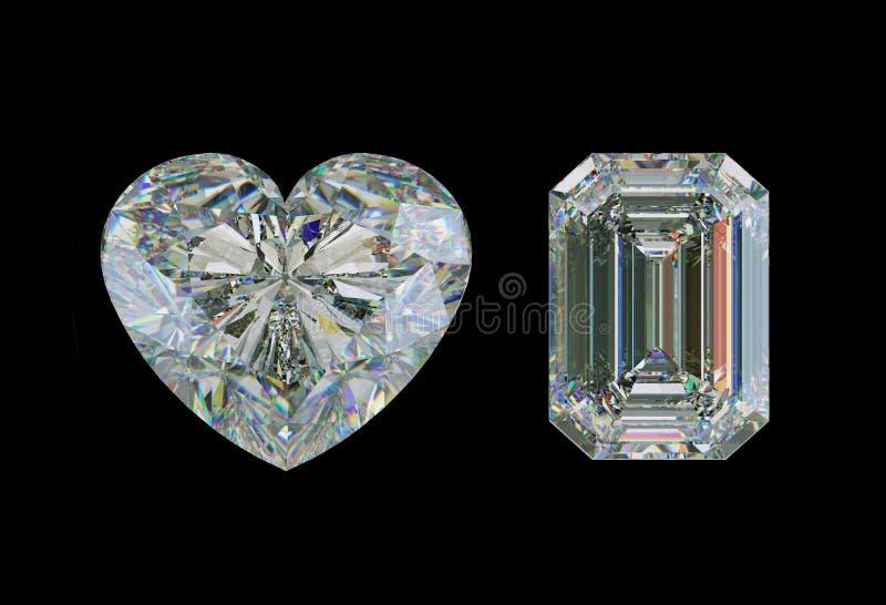 A esmeralda cortou a pedra preciosa da forma do diamante e do coração isolada ilustração stock