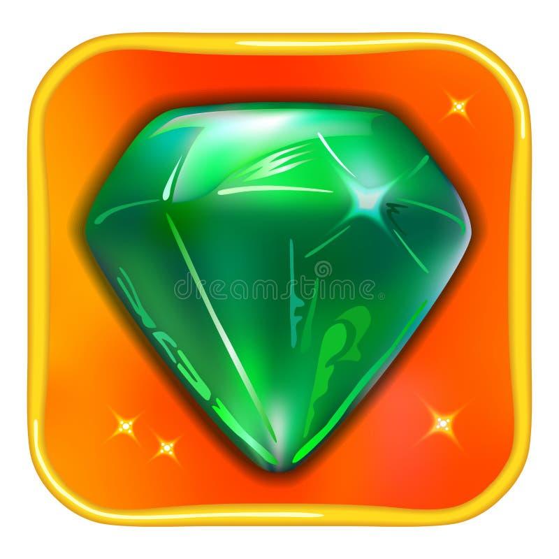 Esmeralda del icono del juego del App ilustración del vector