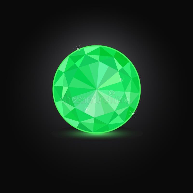 Esmeralda redonda verde ilustração do vetor