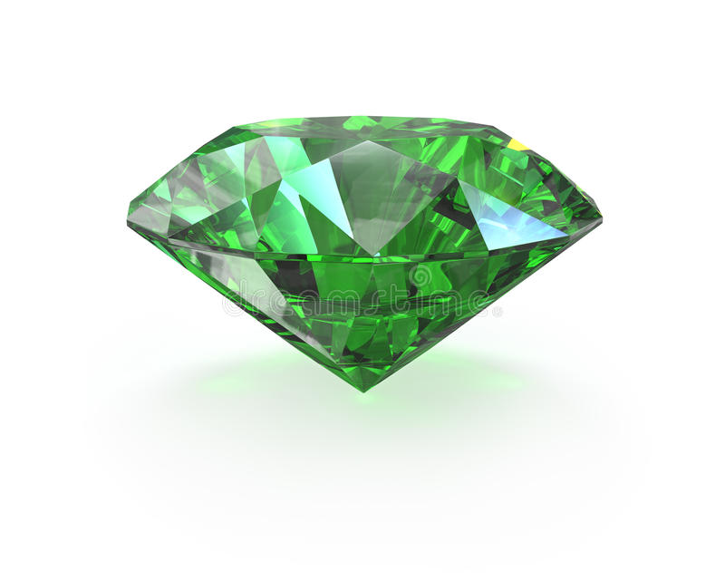 Esmeralda verde del corte redondo ilustración del vector