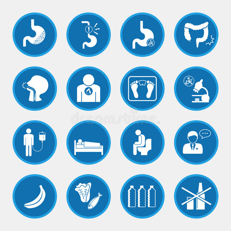 Esophageal cancer icons blue button stock illustration