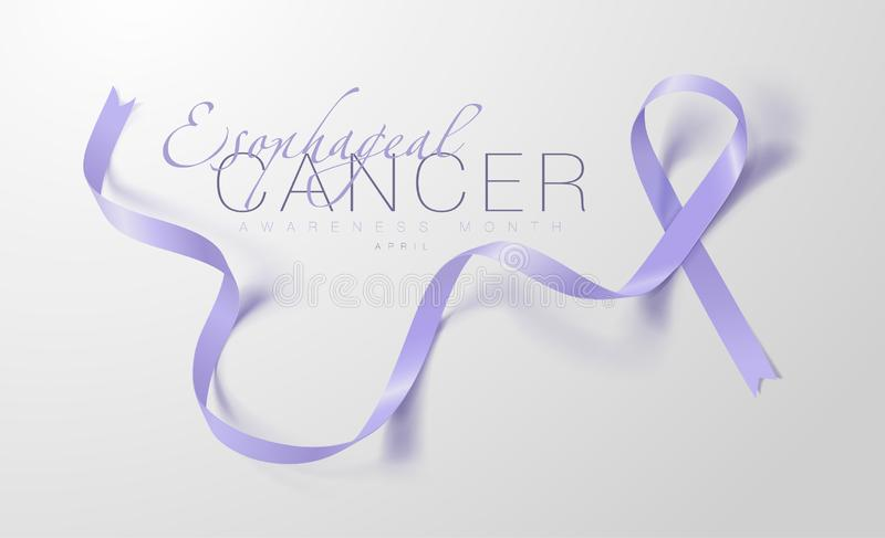 Esophageal Ontwerp van de de Kalligrafieaffiche van de Kankervoorlichting Realistisch Maagdenpalmlint April is de Maand van de Ka vector illustratie