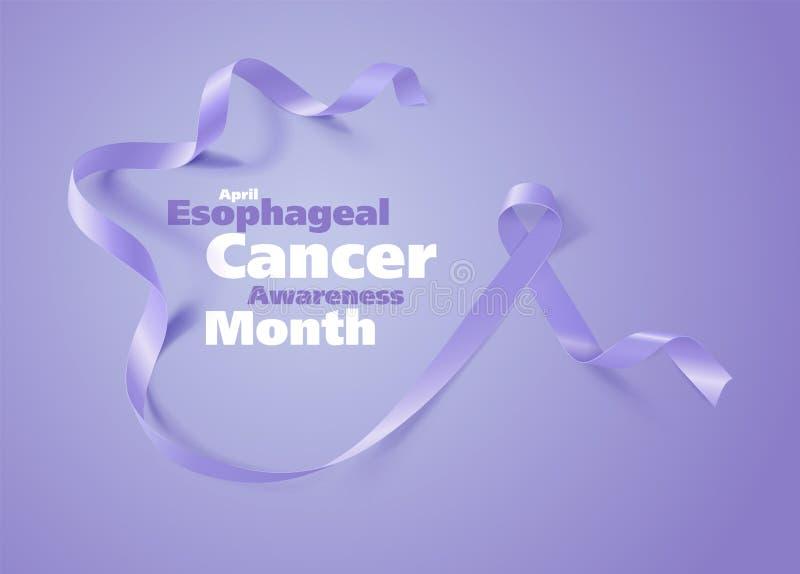 Esophageal Ontwerp van de de Kalligrafieaffiche van de Kankervoorlichting Realistisch Maagdenpalmlint April is de Maand van de Ka royalty-vrije illustratie