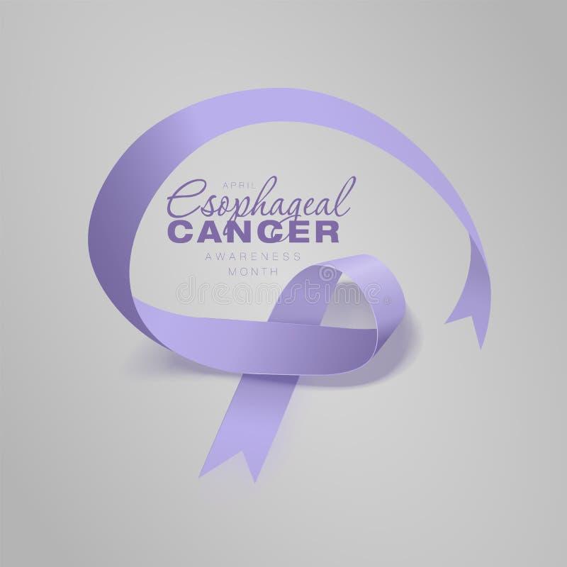 Esophageal Ontwerp van de de Kalligrafieaffiche van de Kankervoorlichting Realistisch Maagdenpalmlint April is de Maand van de Ka stock illustratie