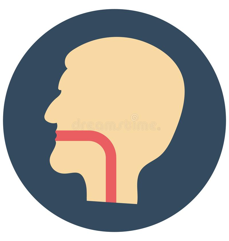 esophagus, горло, изолированный значок вектора который можно легко доработать или редактировать бесплатная иллюстрация