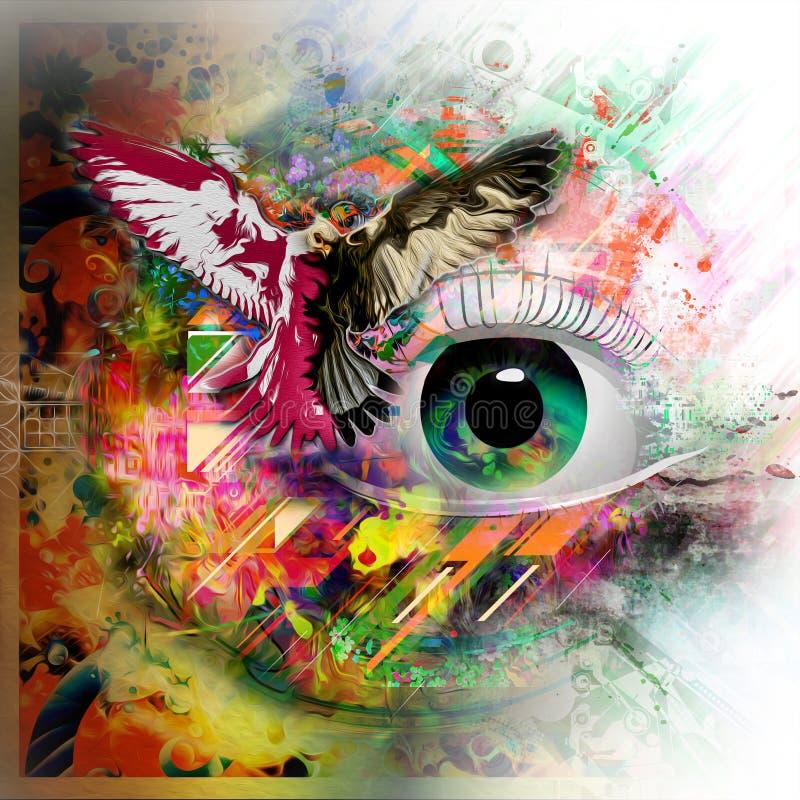 Esoteric illustration of eye. Colorful illustration of eye, with white background royalty free illustration
