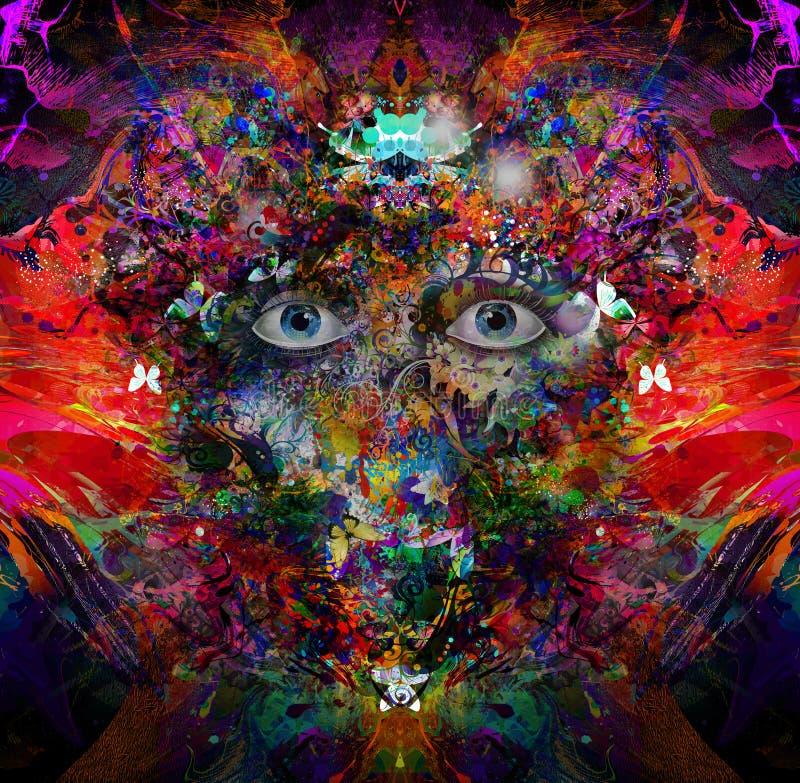 Esoteric illustration of eye. Colorful illustration of eye, with white background vector illustration