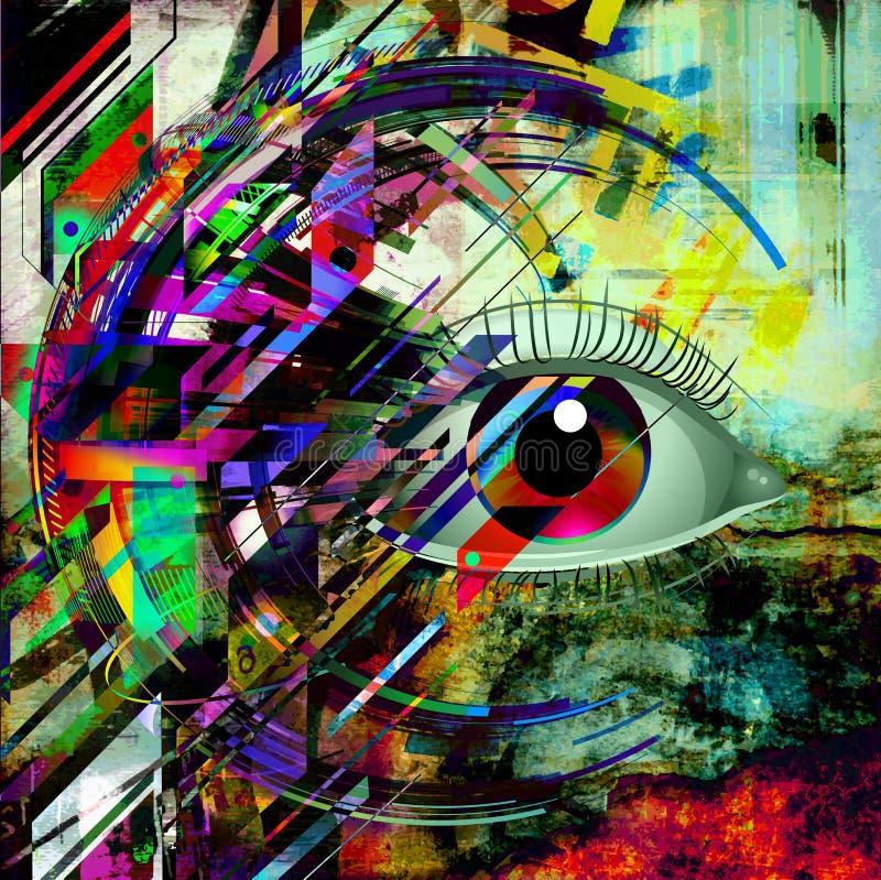Esoteric illustration of eye. Colorful illustration of eye, with white background stock illustration
