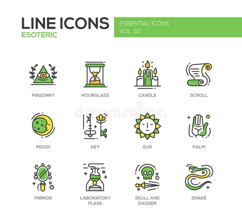 Esoterisch - geplaatste de pictogrammen van het lijnontwerp vector illustratie