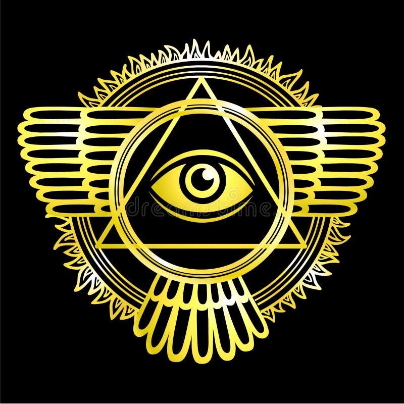 Esoterisch gevleugeld teken van een piramide royalty-vrije illustratie