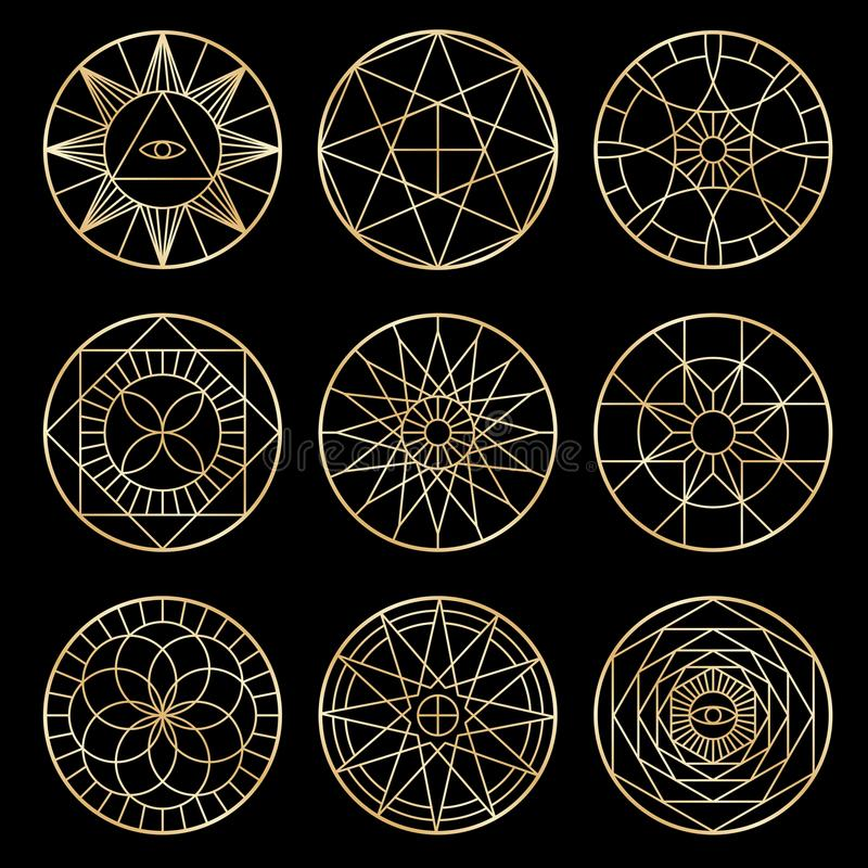 Esoterische geometrische pentagrams Geestelijke heilige mystieke vectorsymbolen vector illustratie