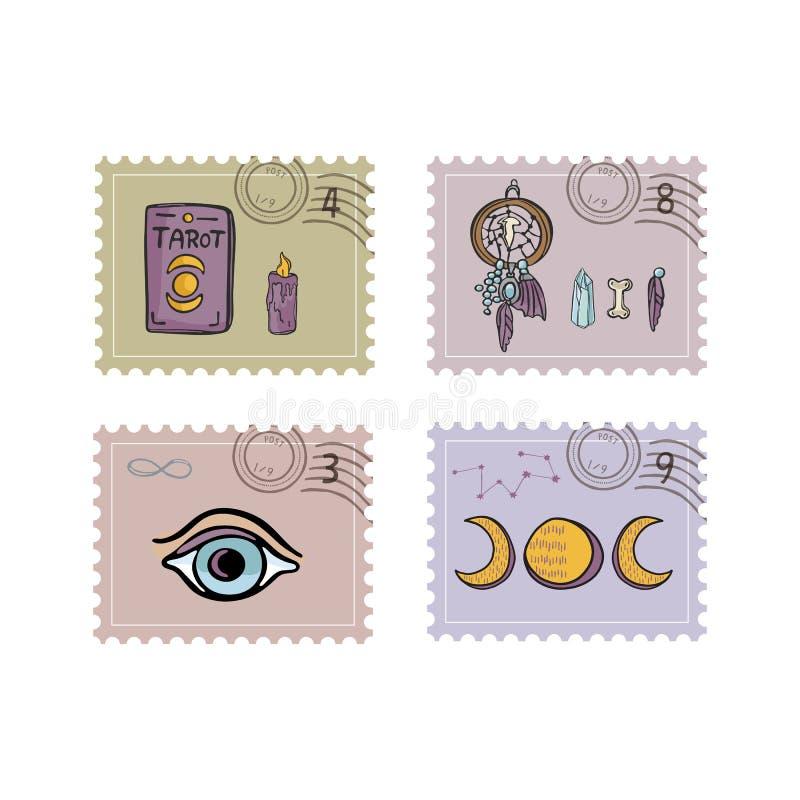 Esoteriska magiska portostämplar För vektorillustration för hand utdragen uppsättning för symbol stock illustrationer