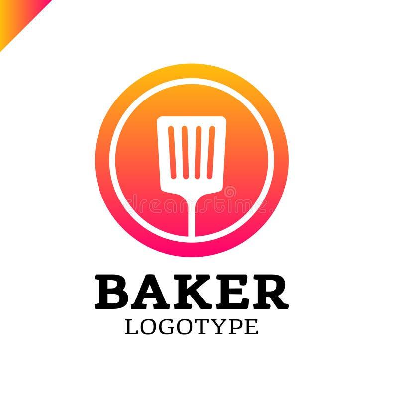 Espátula da cozinha ou ícone simples do logotipo da padaria no círculo ilustração royalty free