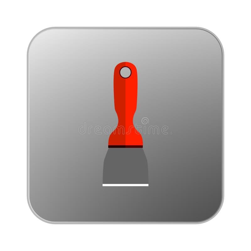 Espátula do cimento do ícone do vetor com punho alaranjado ilustração do vetor