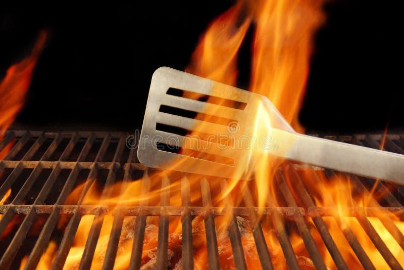 Espátula quente da grade da chama do fogo do BBQ, XXXL imagens de stock royalty free