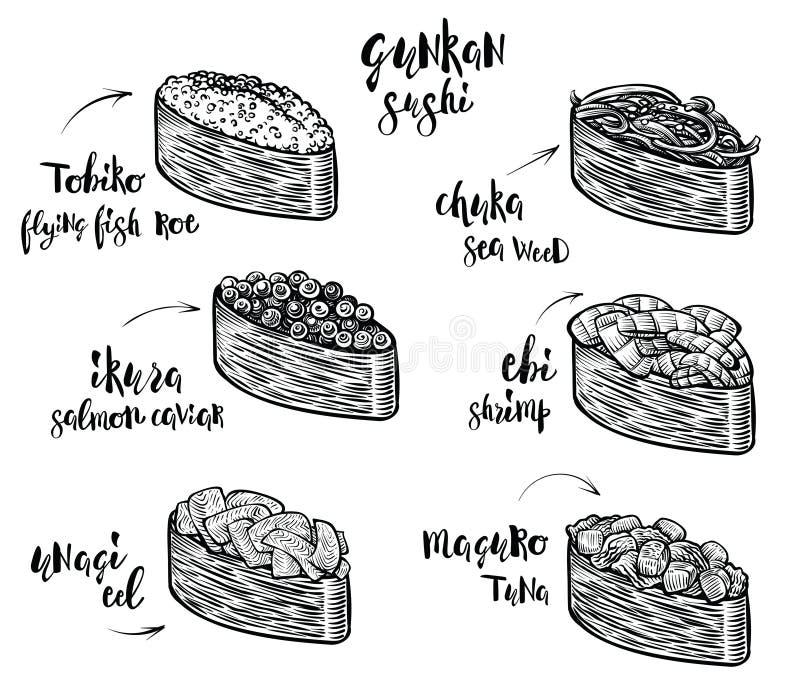 Espèces de sushi de Gunkan Ligne d'isolement illustrations de sushi sur le fond blanc Nourriture japonaise illustration de vecteur