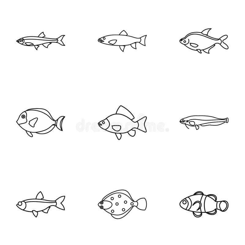 A espécie de ícones dos peixes ajustou, esboçou o estilo ilustração stock