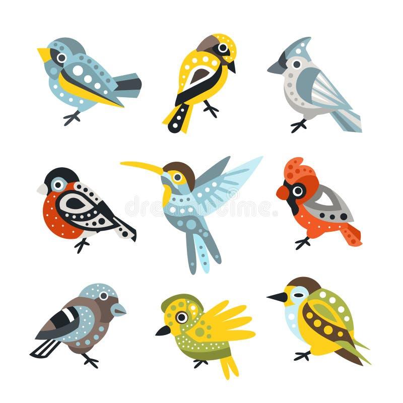 Espécie pequena, pardais e colibris do pássaro ajustados de ilustrações artísticas decorativas do vetor dos animais selvagens do  ilustração royalty free