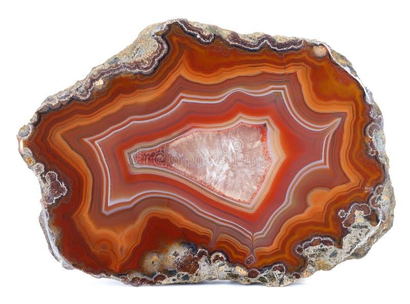 Espécimen pulido de la ágata con un centro de la geoda del cuarzo fotos de archivo