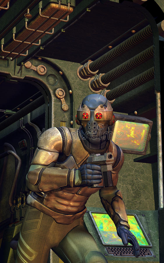 Espía futurista del secreto del soldado ilustración del vector
