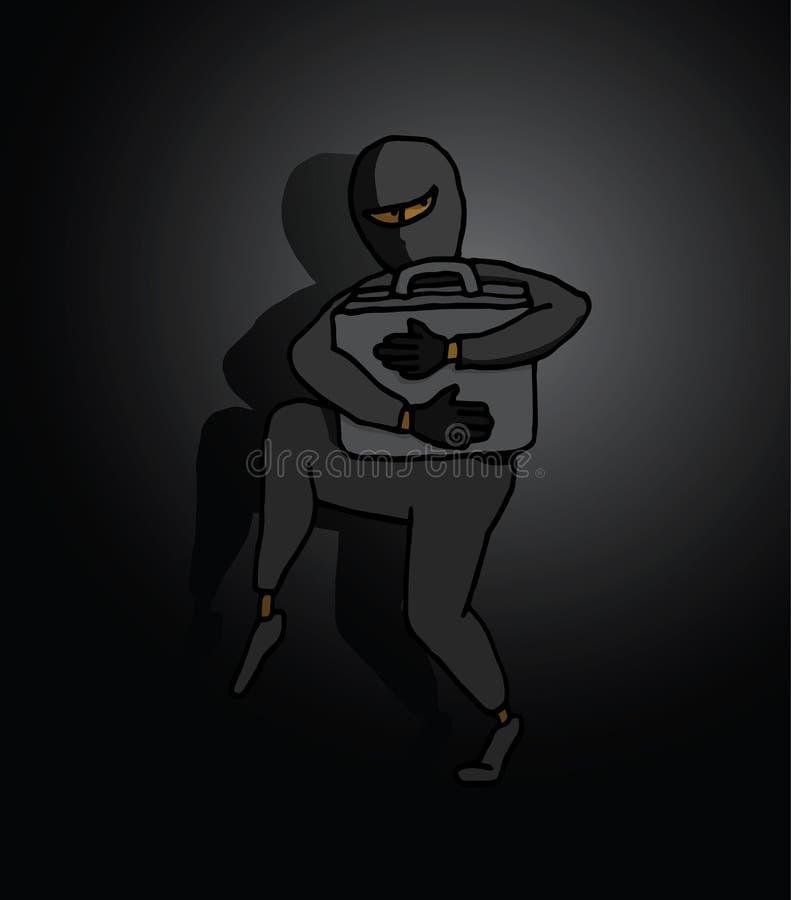 Espía que roba la cartera valiosa con secretos ilustración del vector