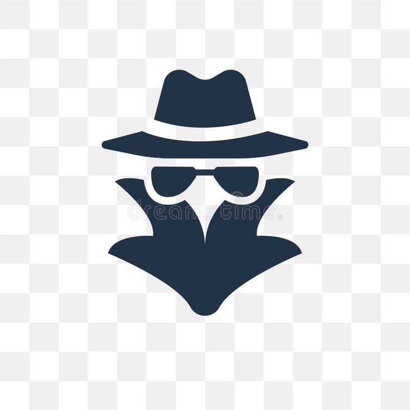 Espíe el icono del vector aislado en el fondo transparente, transpa del espía stock de ilustración