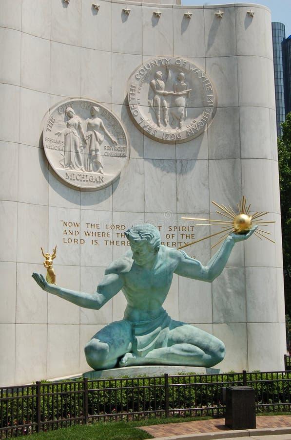 Espírito da estátua de Detroit, Detroit do centro fotos de stock royalty free