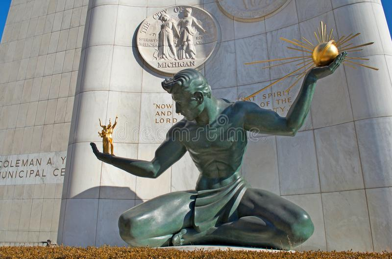 Espírito da estátua de Detroit em Detroit da baixa imagem de stock