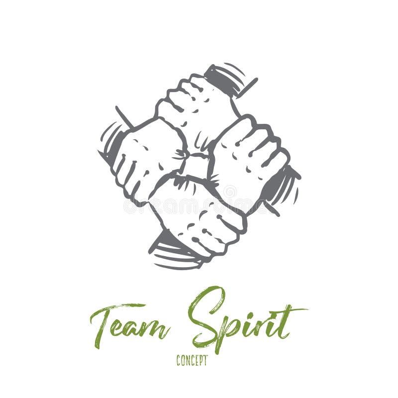 Espírito de equipe, junto, conexão, conceito da parceria Vetor isolado tirado mão ilustração royalty free
