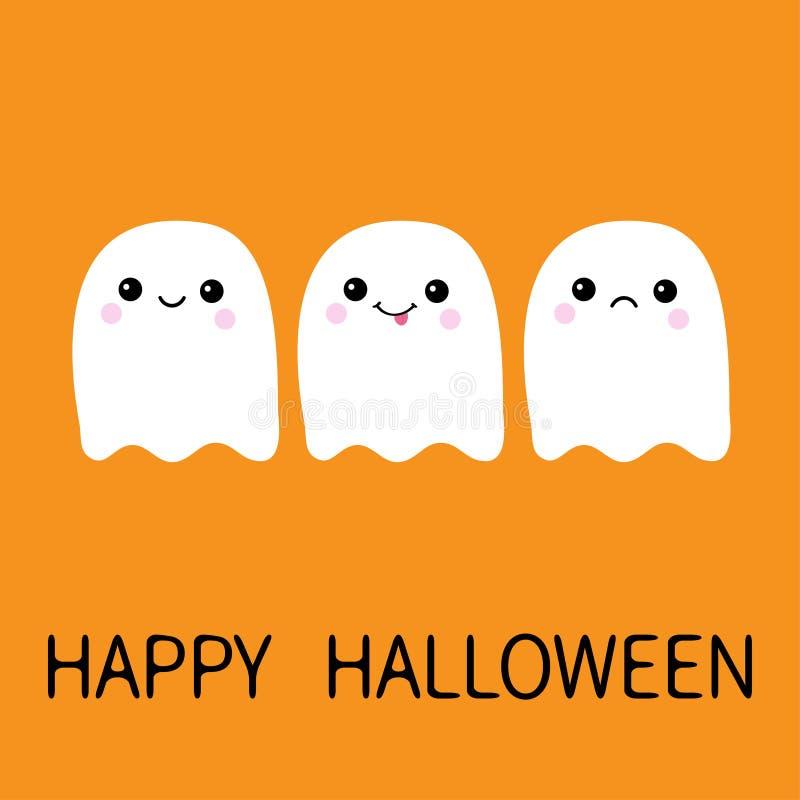 Espírito de voo triste, sorriso do fantasma três, mostrando a língua boo Halloween feliz Fantasmas brancos assustadores Caráter a ilustração royalty free