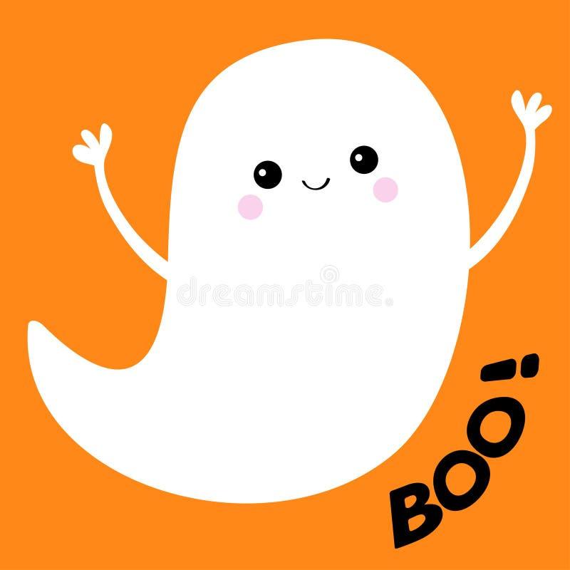 Espírito do fantasma do voo Boo Text Halloween feliz Fantasmas brancos assustadores Caráter assustador dos desenhos animados boni ilustração do vetor