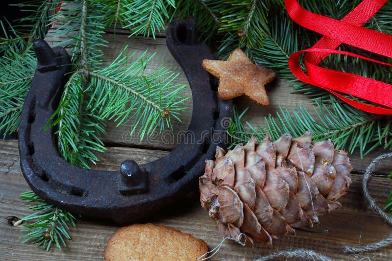 Espírito do Natal? com Santa e Noel imagens de stock